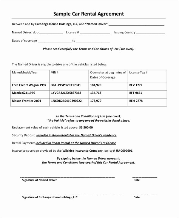 Car Rental Agreement form Unique 35 Free Agreement forms