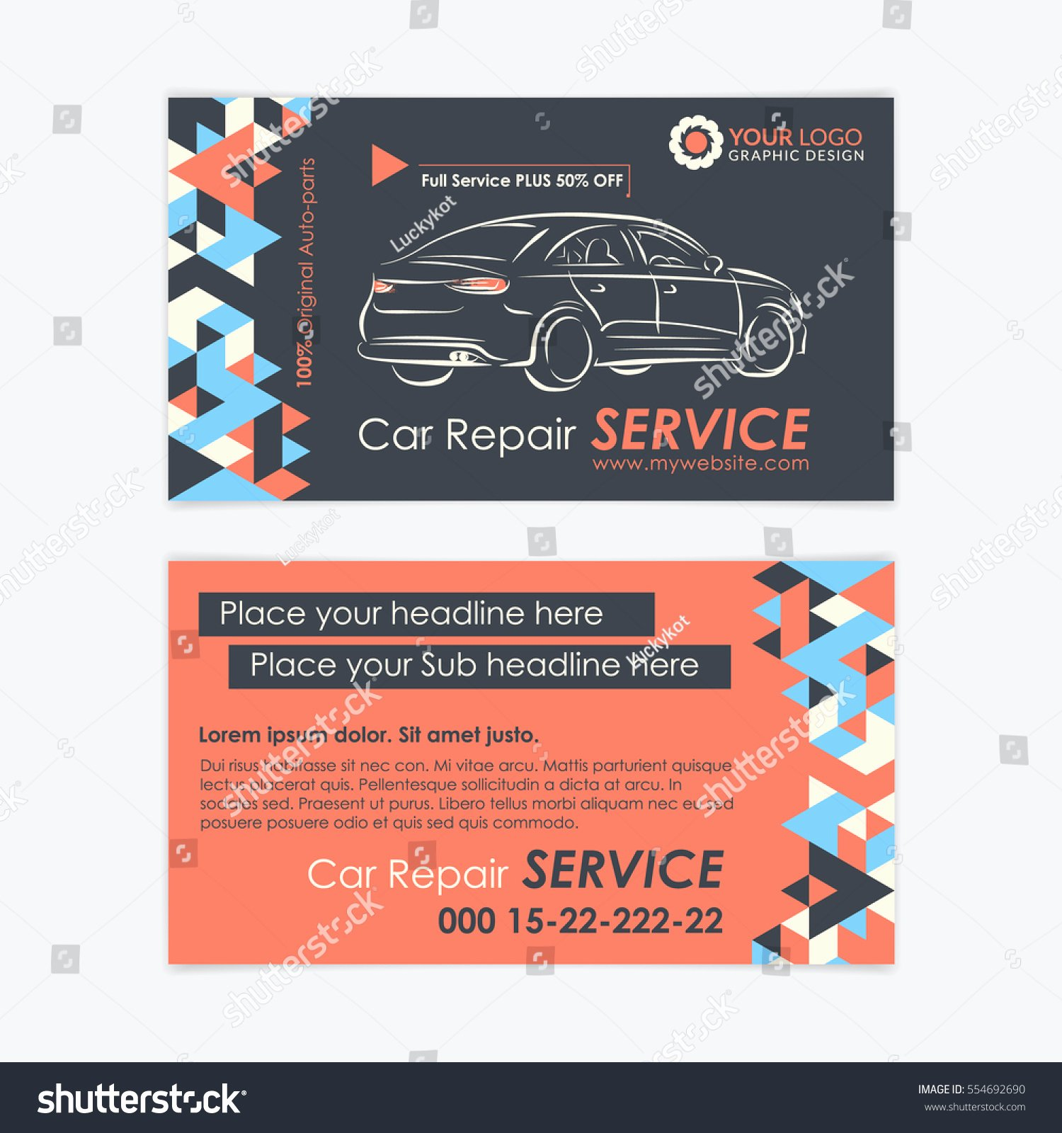 Car Service Business Cards Awesome Automotive Service Business Card Template Car Stock Vector Shutterstock