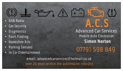 Car Service Business Cards Unique Acs Advanced Car Services Auto Electrician In Manchester Uk