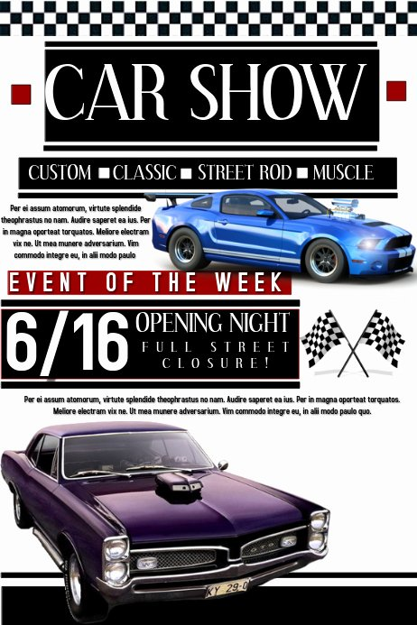 Car Show Flyer Template Free Luxury Car Show Template