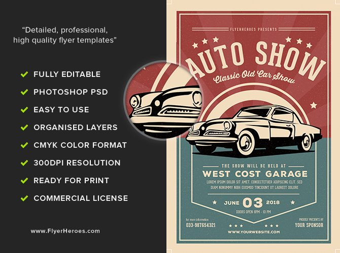 Car Show Flyer Template Luxury Old Classic Car Show Flyer Template Flyerheroes