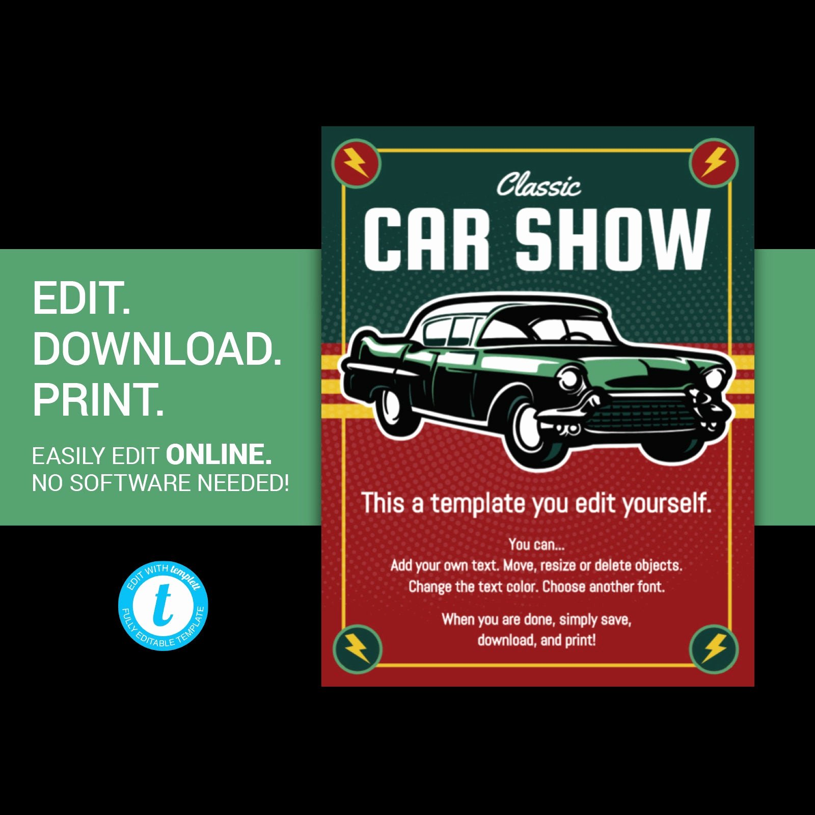 Car Show Flyer Template Unique Editable Car Show Flyer Classic Car Show Flyer Vintage Car