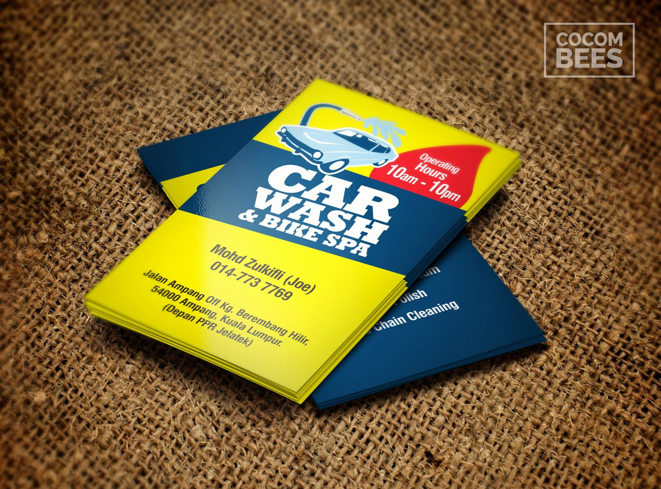 Car Wash Business Cards Awesome Car Wash & Bike Spa Business Card Design – Co Bee Studio