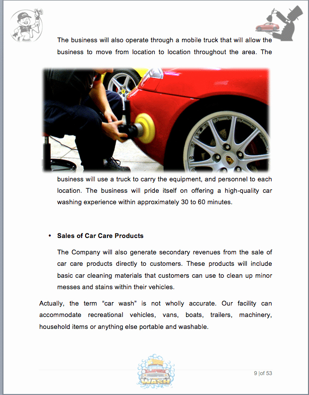 Car Wash Business Plan Pdf Inspirational Auto Detail Car Wash Business Plan Sample Pages Black
