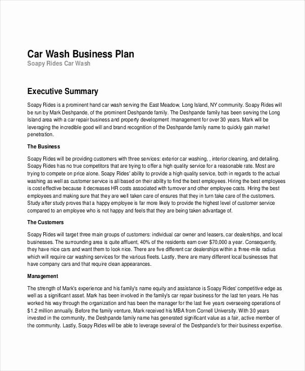 Car Wash Business Plan Pdf Luxury Free 16 Business Plan Examples In Pdf