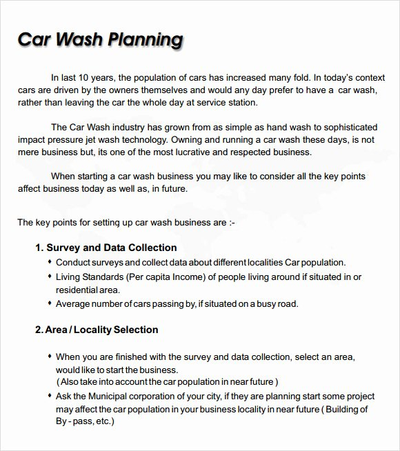 Car Wash Business Plan Pdf Unique Free 13 Car Wash Business Plan In Google Docs