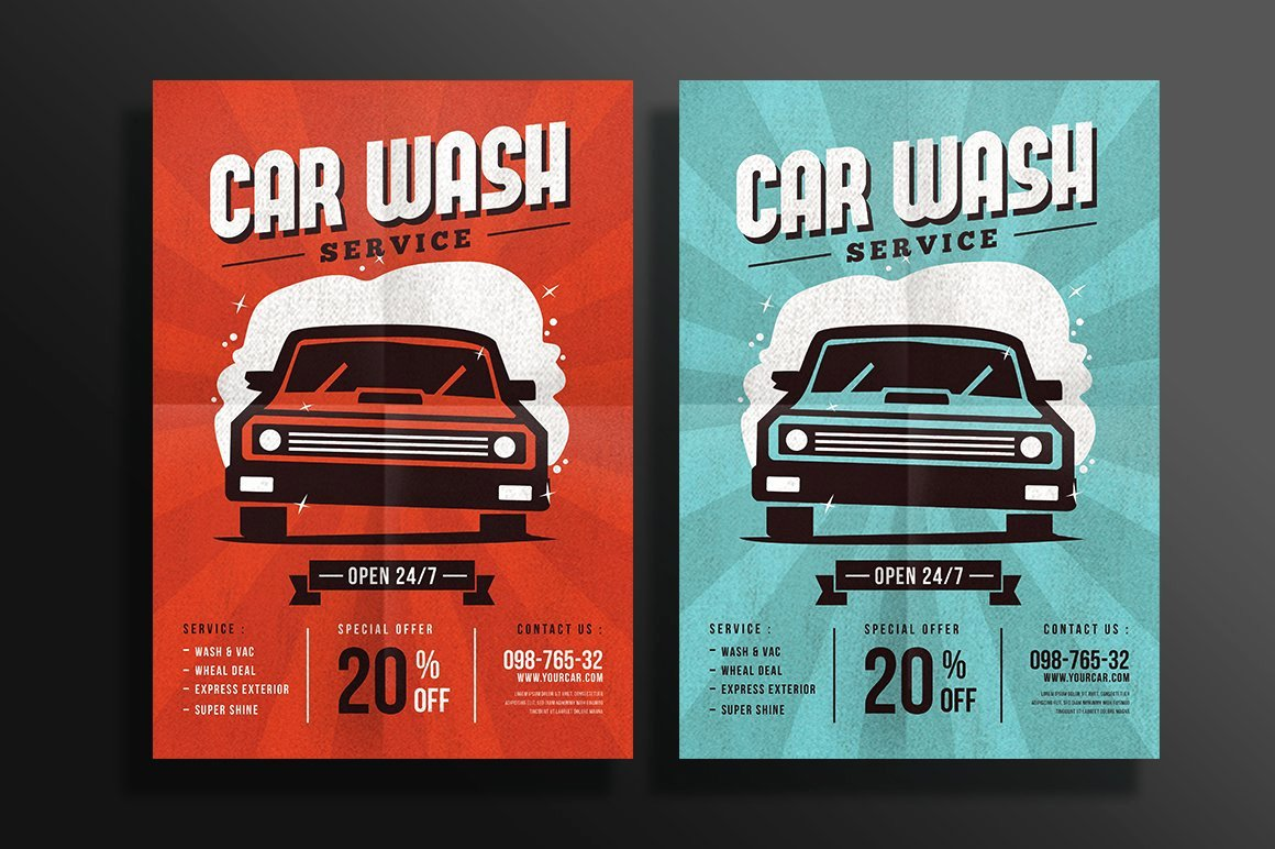 Car Wash Flyers Template Awesome Car Wash Flyer Flyer Templates Creative Market