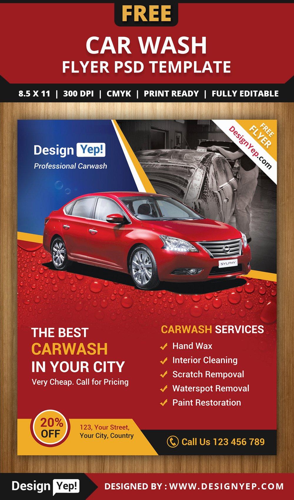 Car Wash Flyers Template New Free Car Wash Flyer Psd Template Designyep