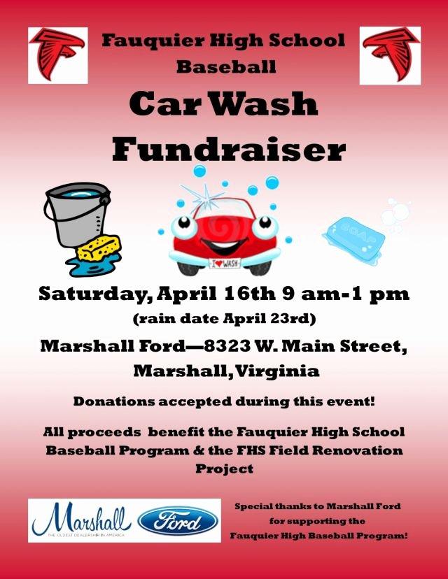Car Wash Fundraiser Flyers Elegant Fauquier High Baseball Car Wash Fundraiser