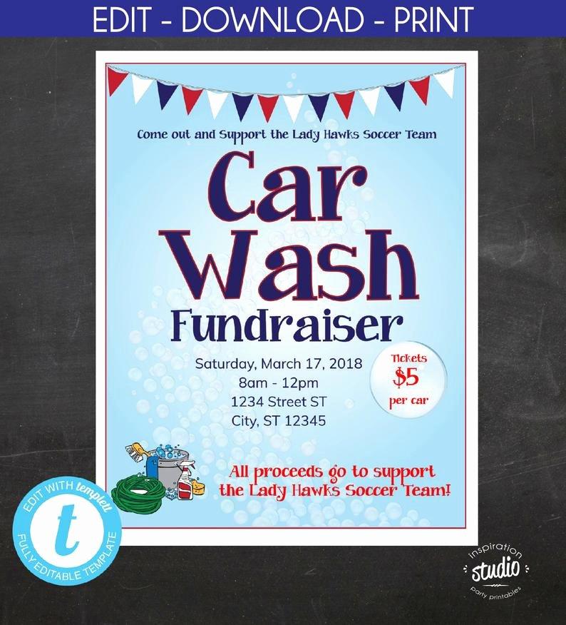 Car Wash Fundraiser Flyers Unique Car Wash Fundraiser Flyer School Flyer Church Flyer Sport