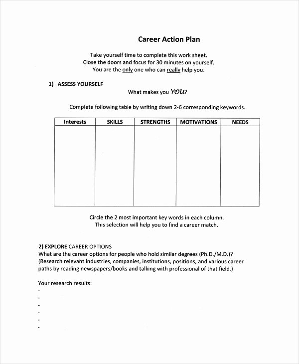 Career Action Plan Template Best Of Career Action Plan Template 15 Free Sample Example