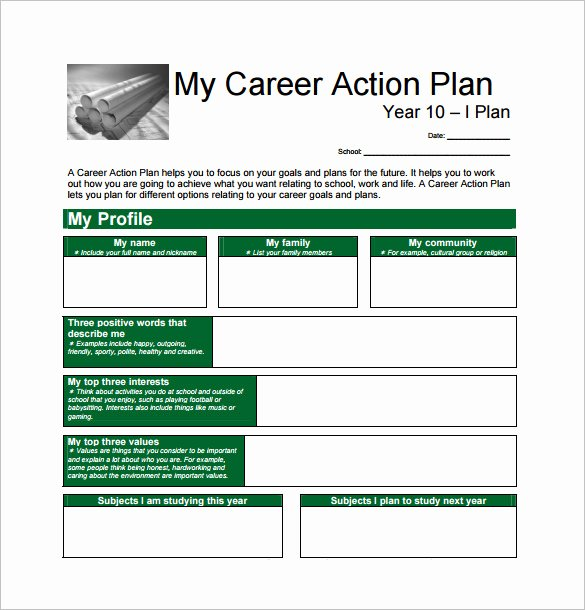 Career Action Plan Template New Free Equipment Leasing Business Plan