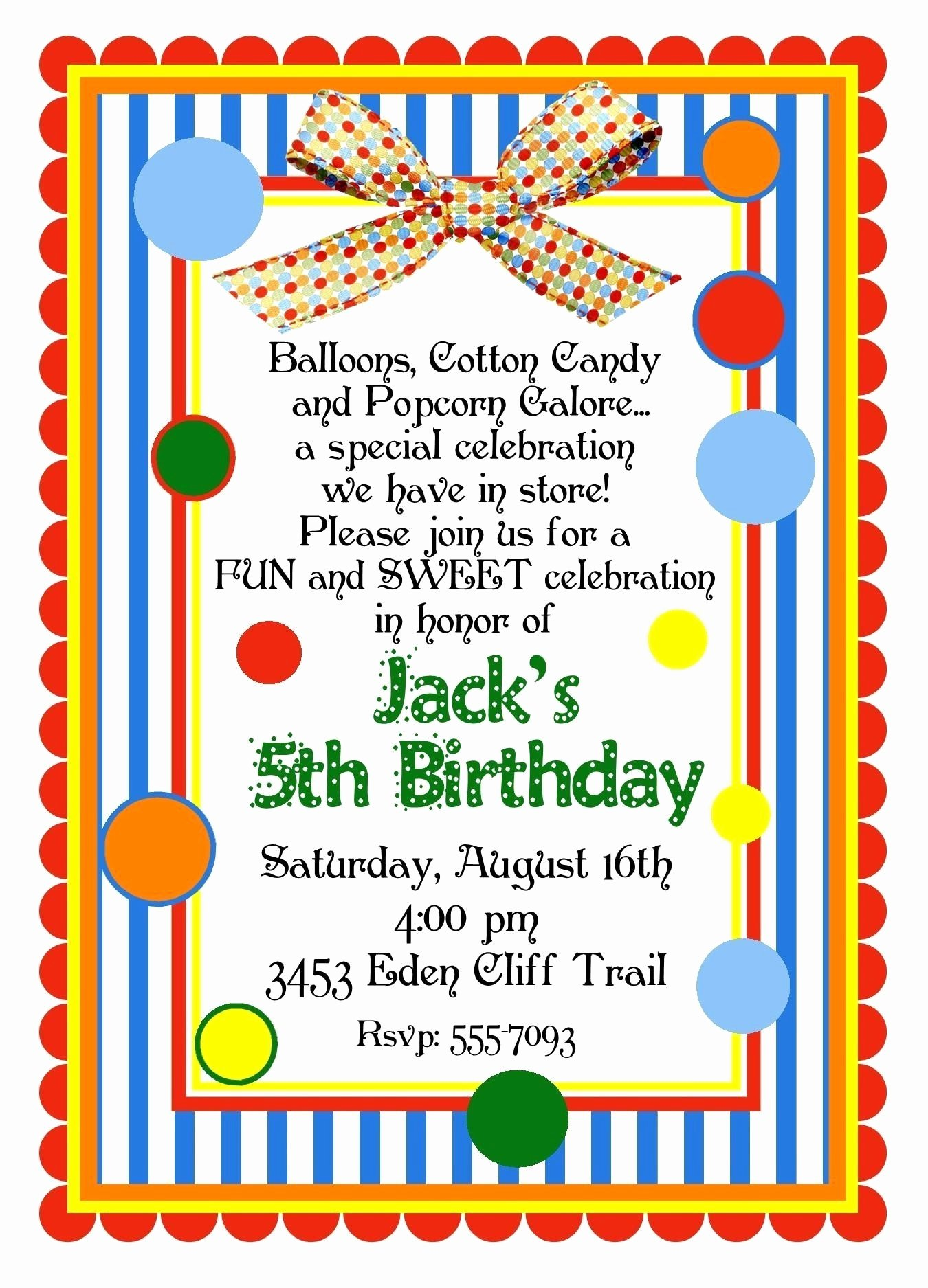 Carnival Birthday Party Invitations Awesome Personalized Invitations Circus Carnival Birthday Party