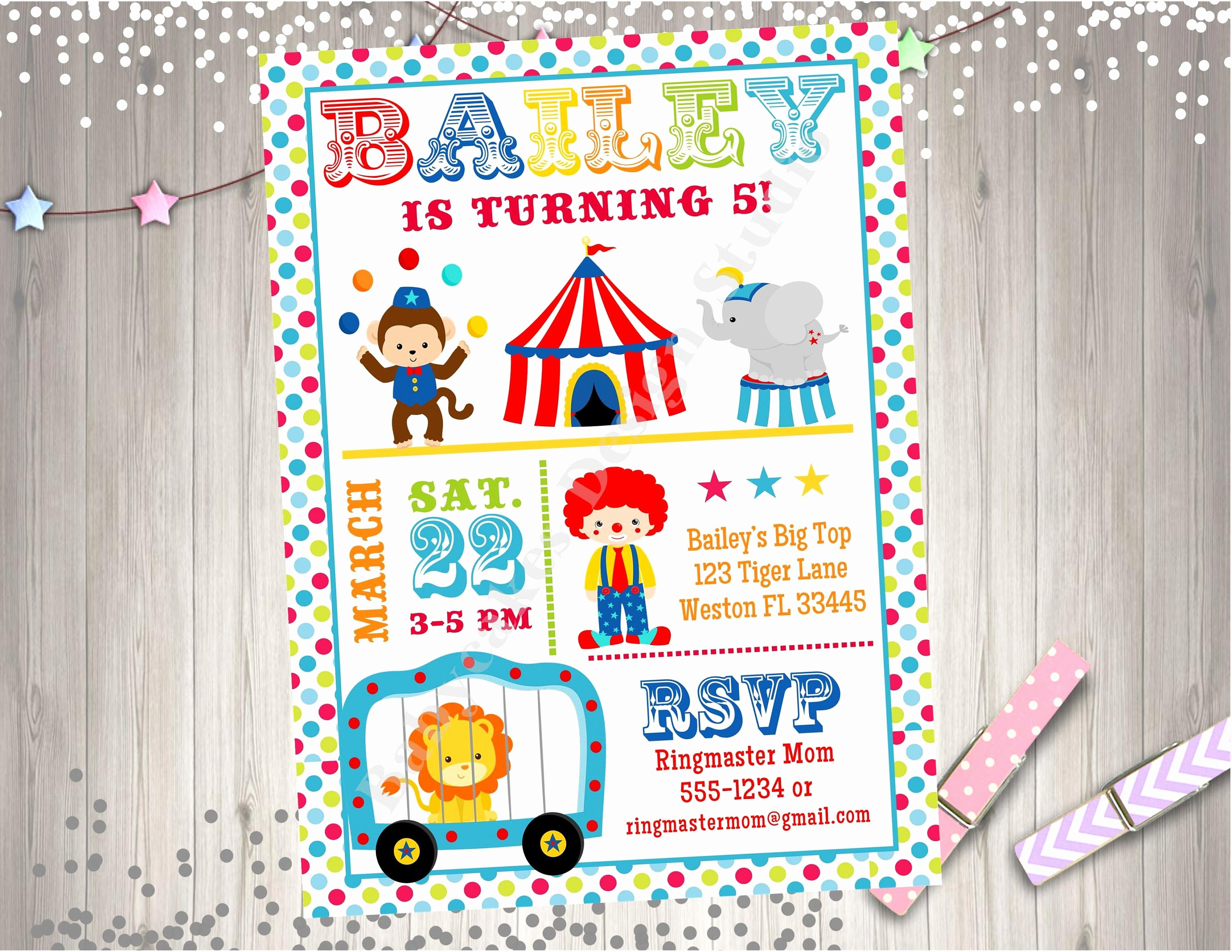 Carnival Birthday Party Invitations Beautiful Circus Invitation Invite Circus Birthday Party Invitation