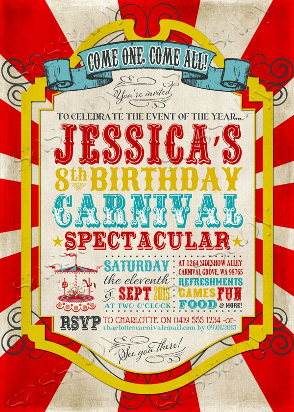 Carnival Birthday Party Invitations Elegant Carnival Party Invitation