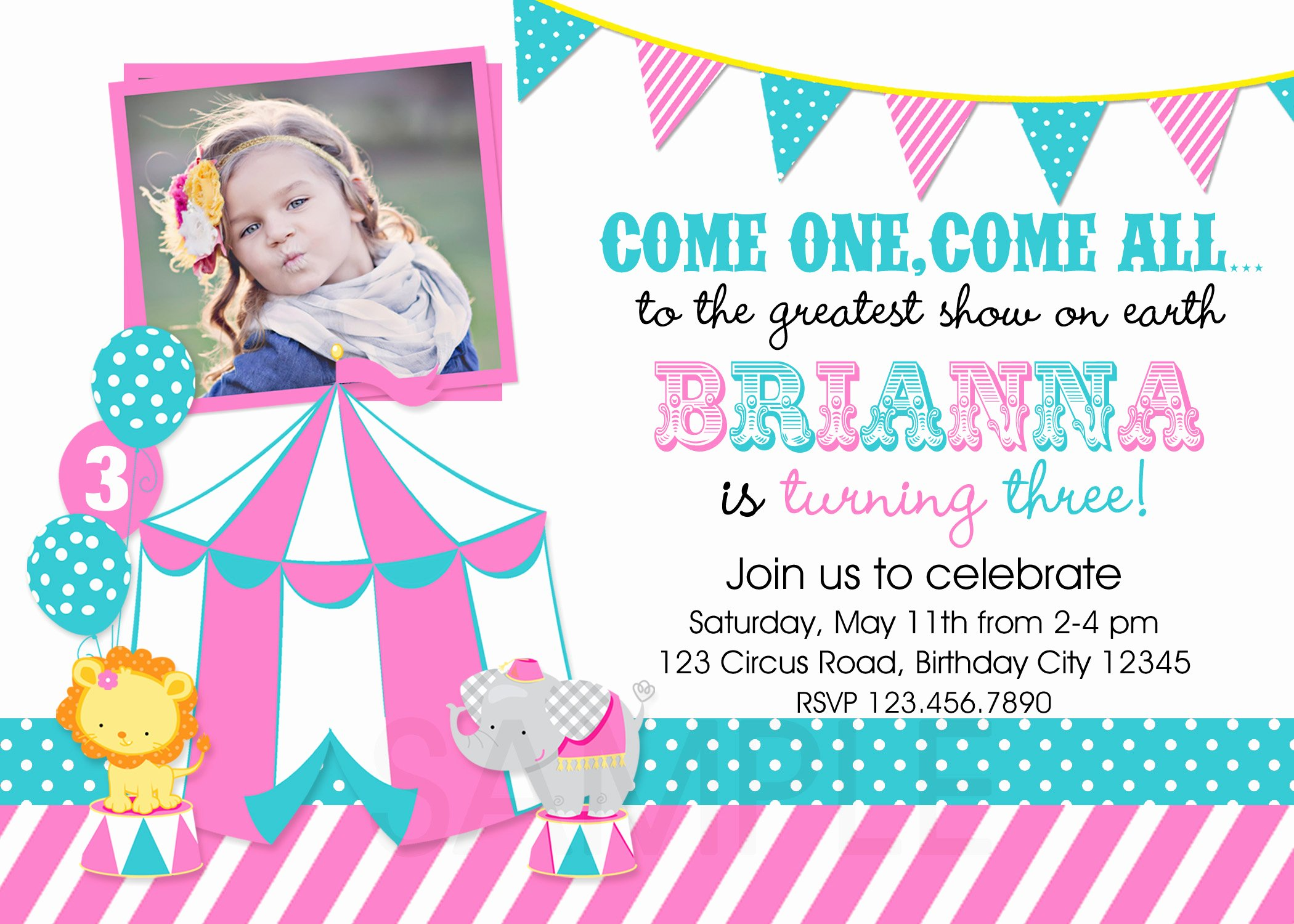 Carnival Birthday Party Invitations Elegant Printable Birthday Party Invitations Circus Carnival theme Invitation