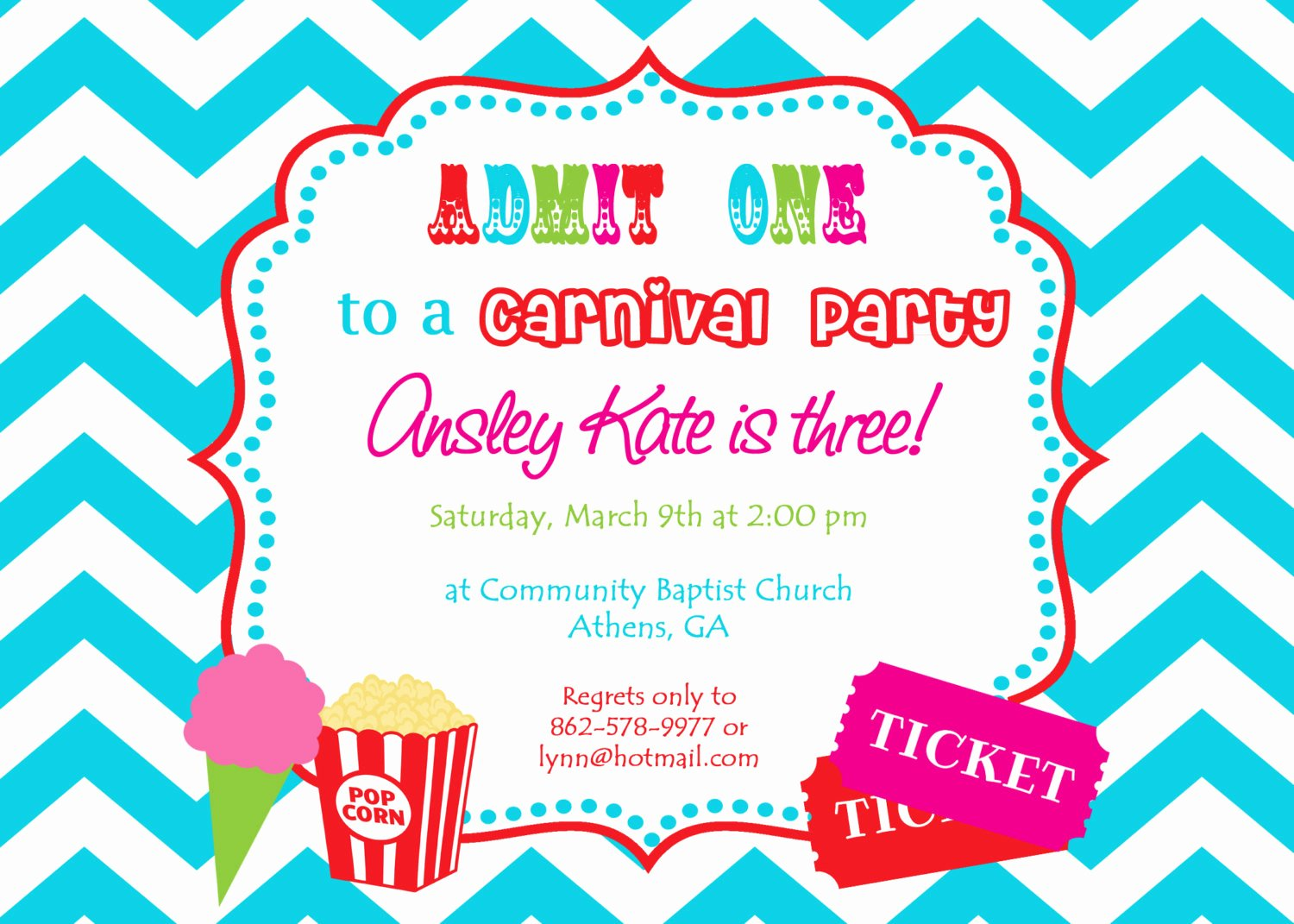 Carnival Birthday Party Invitations Elegant Printable Carnival Birthday Party Invitation Girly Circus
