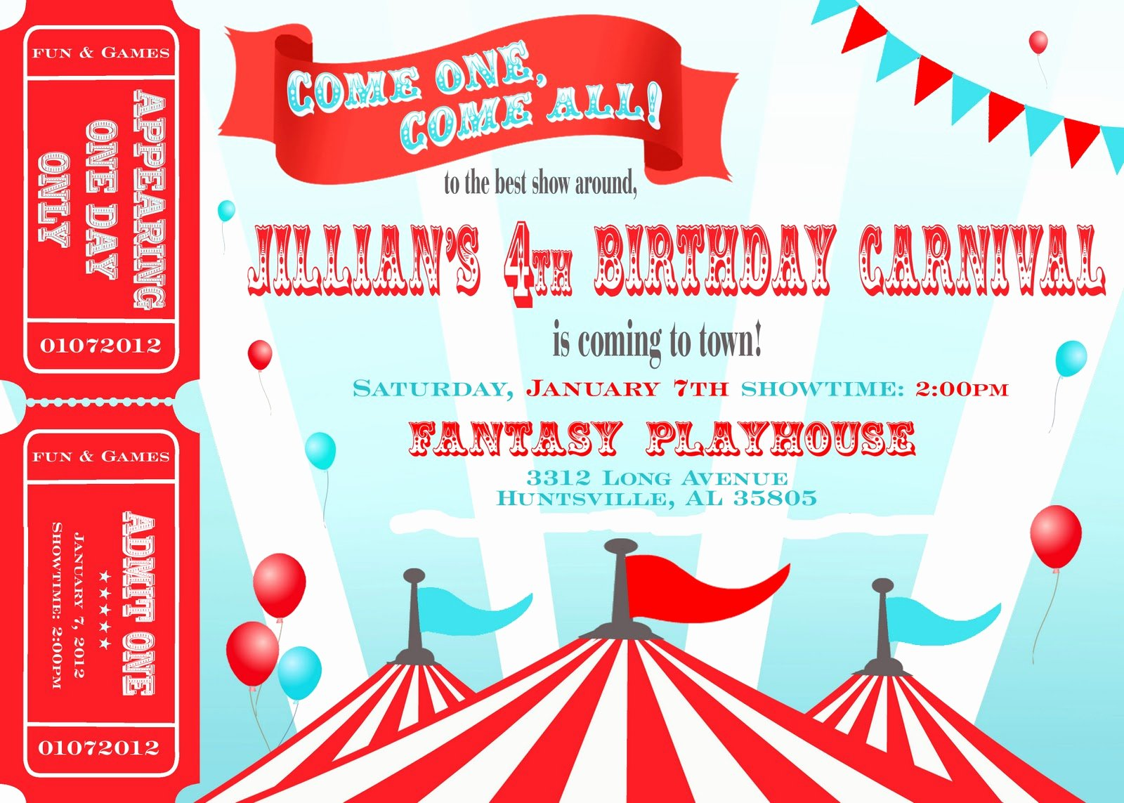 Carnival Birthday Party Invitations Fresh Two Plus Jilly Carnival 4th Birthday Party