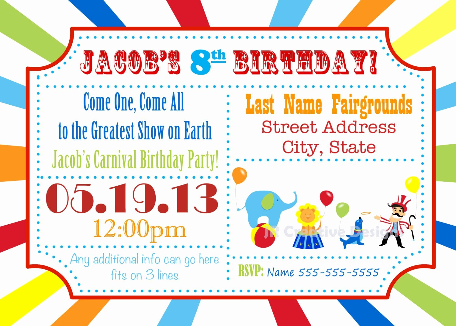Carnival Birthday Party Invitations Inspirational Circus Invite Carnival Invite Circus by Jrcreativedesigns On Etsy