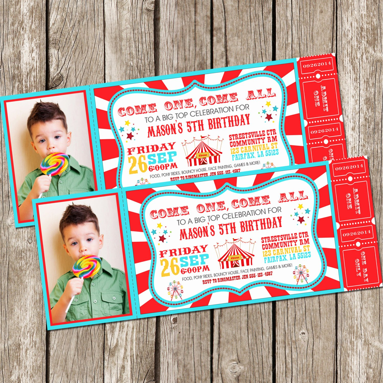 Carnival Birthday Party Invitations Inspirational Vintage Circus Carnival Invitation Ticket Invitation
