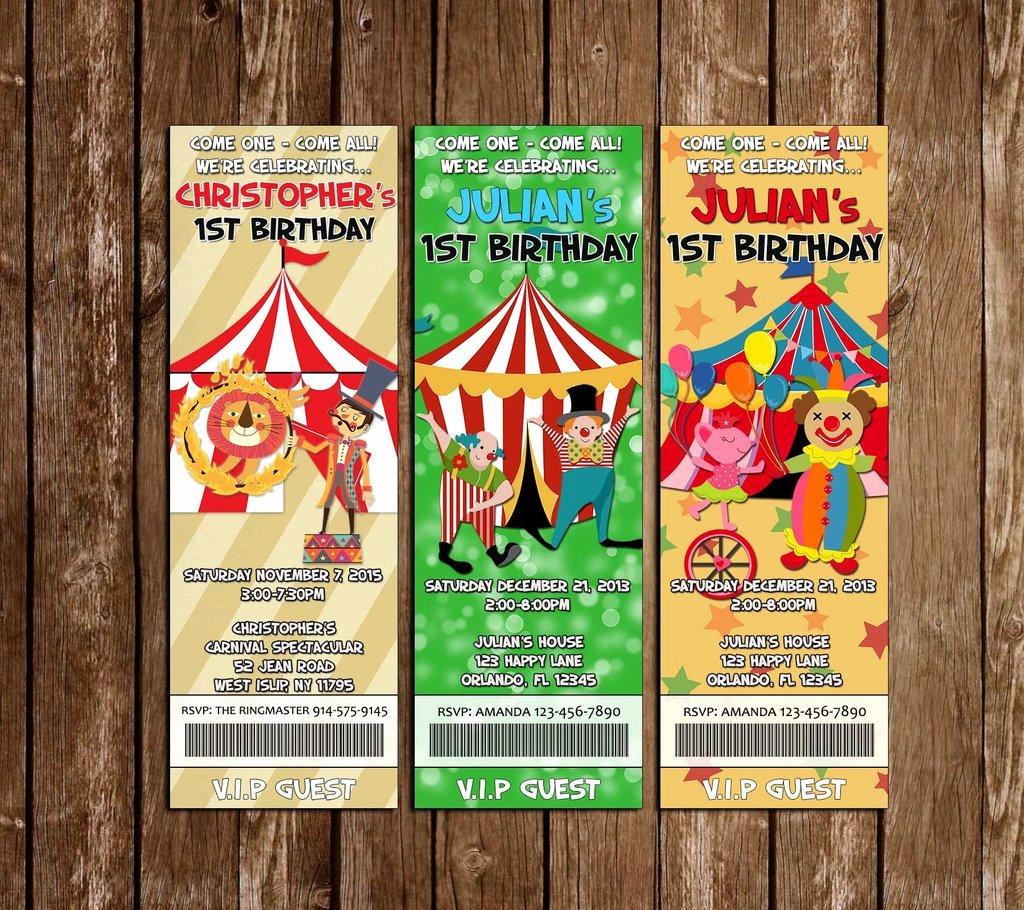 Carnival Birthday Party Invitations Lovely Novel Concept Designs Carnival Circus Birthday Party Ticket Invitations