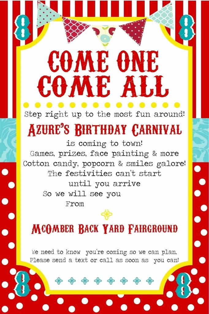 Carnival Birthday Party Invitations Luxury Free Printable Carnival Party Invitation Template