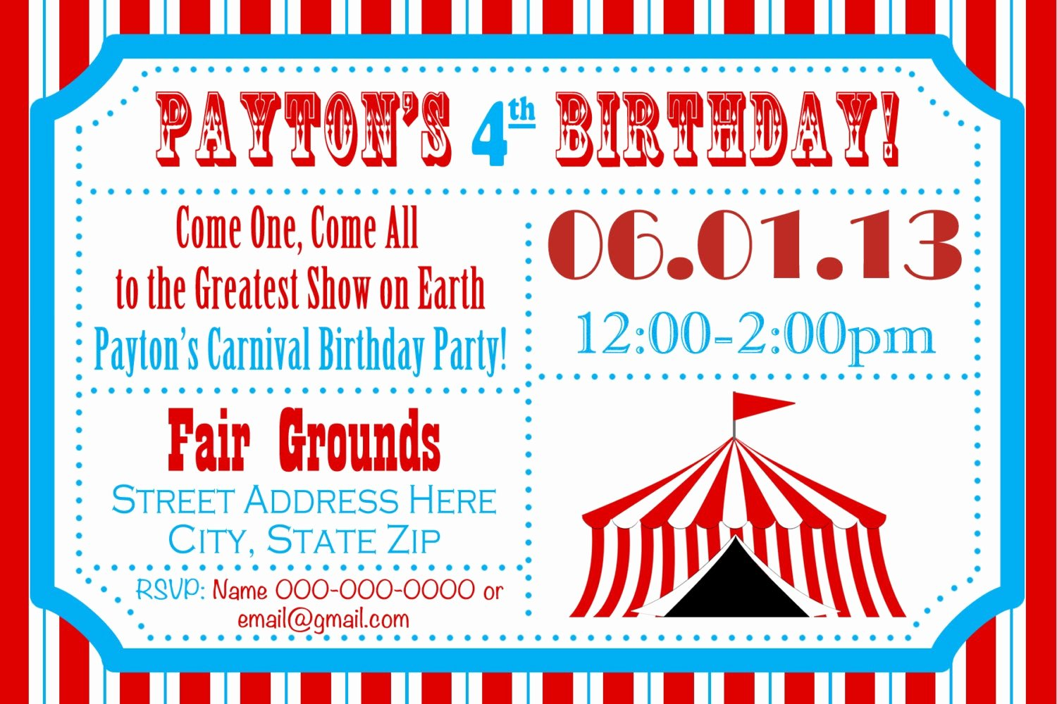 Carnival Birthday Party Invitations New Circus Birthday Party Carnival Invite Circus by Jrcreativedesigns