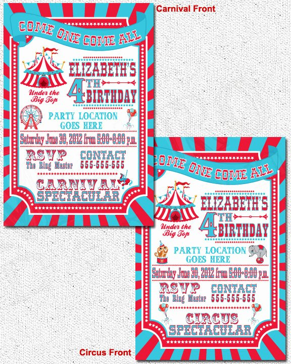 Carnival Birthday Party Invitations New Unavailable Listing On Etsy