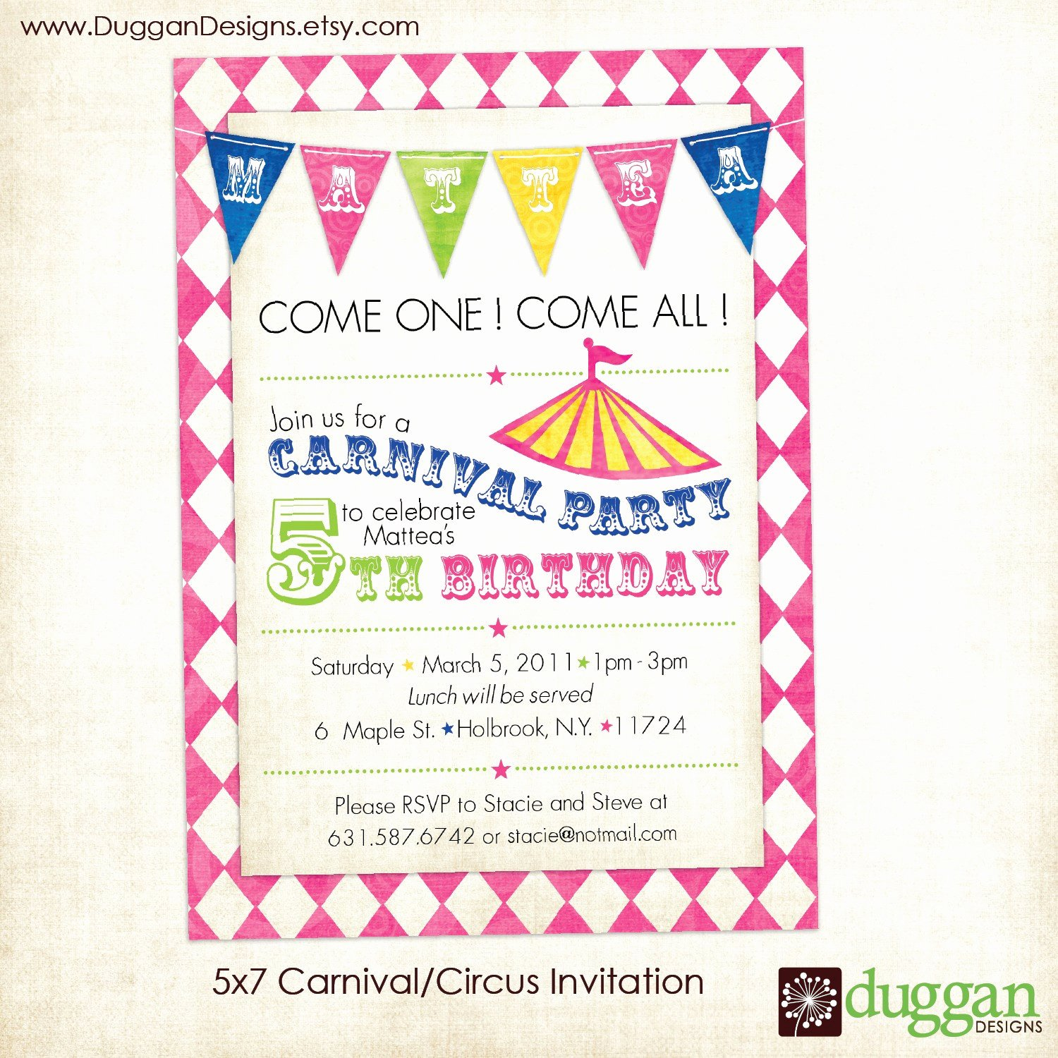 Carnival Birthday Party Invitations Unique Printable Circus or Carnival Birthday Invitation by Duggandesigns