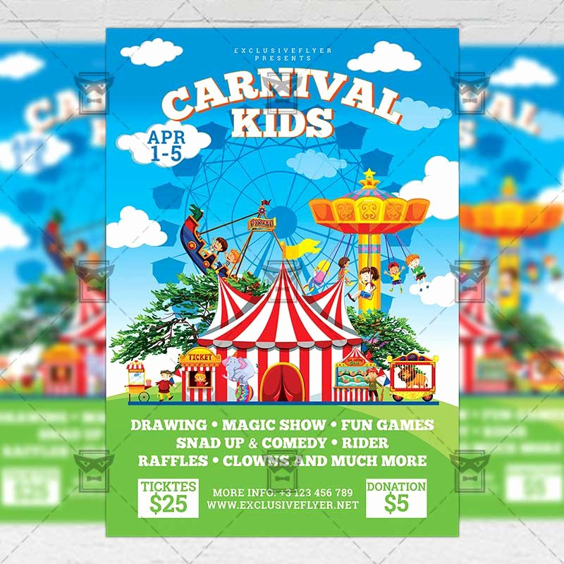 Carnival Flyer Template Free Inspirational Spring Kids Carnival Flyer – Seasonal A5 Template Exclsiveflyer