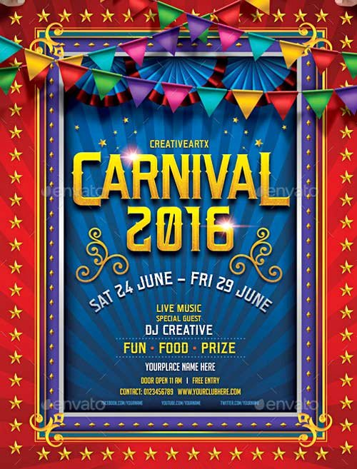 Carnival Flyer Template Free Inspirational top 30 Best Carnival Flyer Templates 2017 Download Psd Flyer for Shop