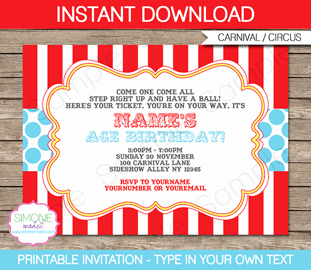 Carnival Invitation Template Free Awesome Circus Invitation Template Red Aqua