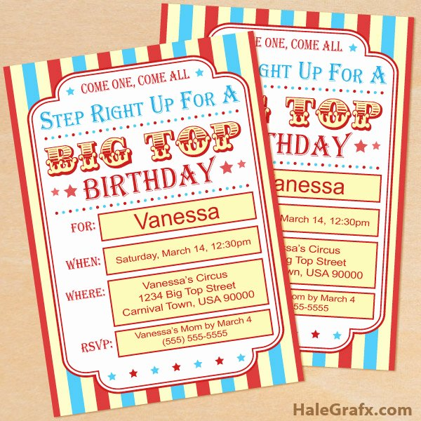 Carnival Invitation Template Free Awesome Free Printable Circus Birthday Invitation Set