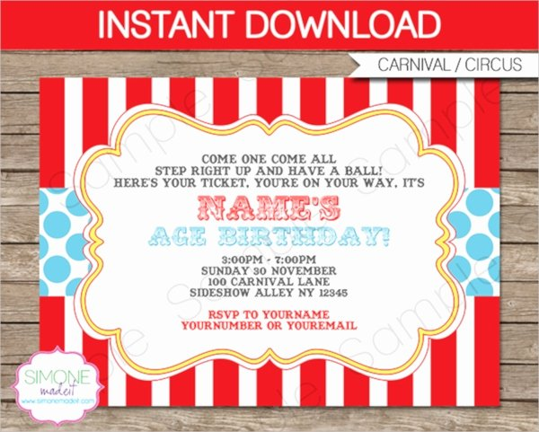 Carnival Invitation Template Free Elegant 14 Circus Party Invitations Psd Vector Eps