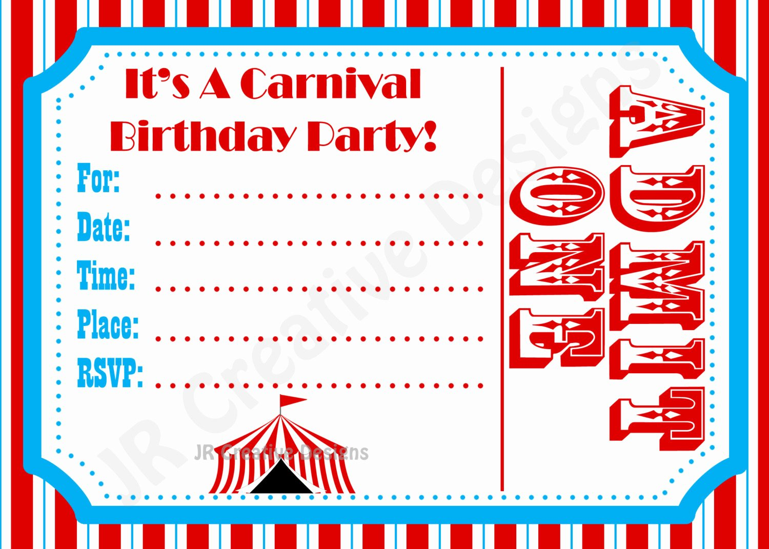Carnival Invitation Template Free Fresh Carnival Invite Circus Invite Circus by Jrcreativedesigns On Etsy