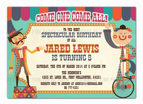 Carnival Invitation Template Free Luxury 25 Circus Party Invitation Templates Jpg Psd