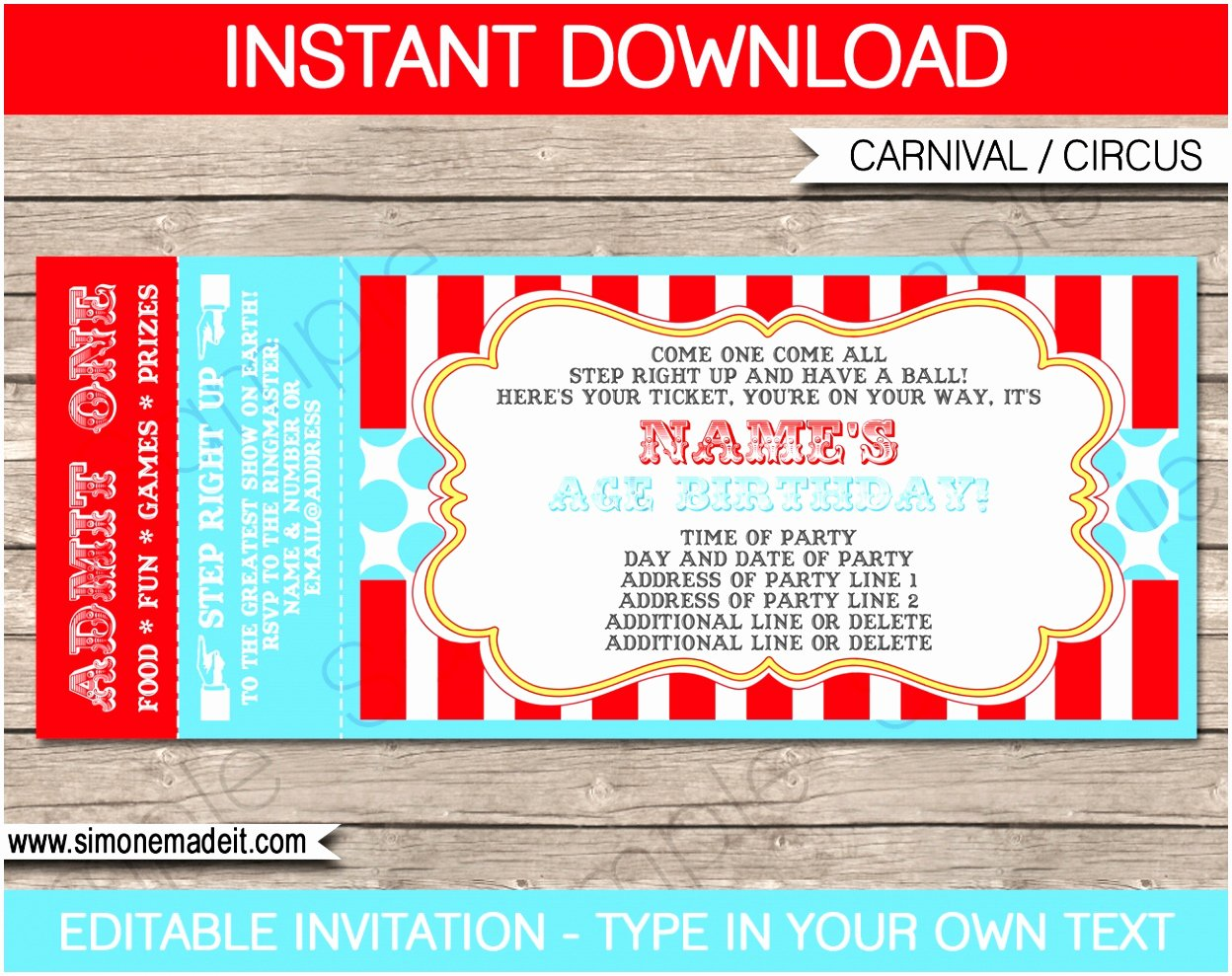 Carnival Invitation Template Free New 12 Carnival Ticket Invitation Template Prwtv