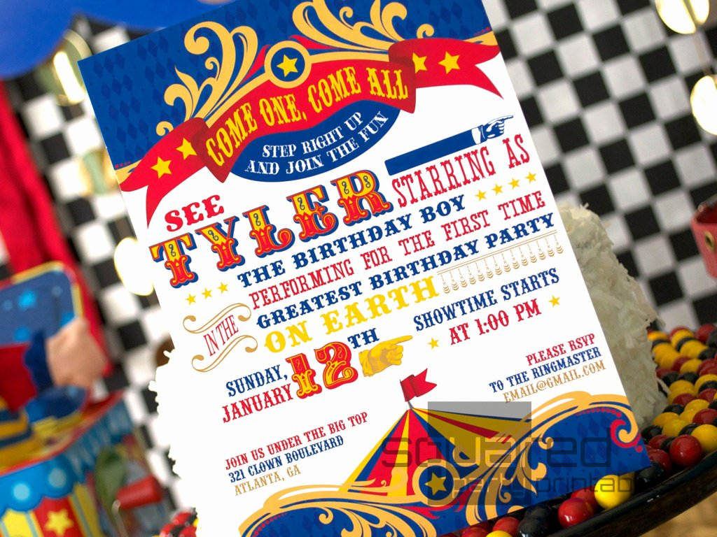 Carnival themed Birthday Invitations Awesome Circus Birthday Party Printable Birthday Invitation Diy