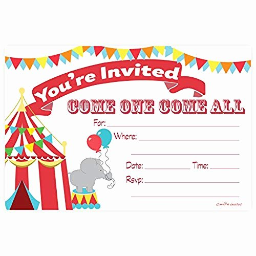 Carnival themed Birthday Invitations Beautiful Circus Party Supplies 1st Birthday Amazon