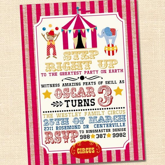 Carnival themed Birthday Invitations Beautiful Step Right Up Circus Invitation Circus themed Party Circus