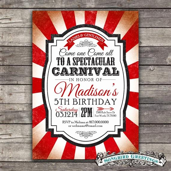 Carnival themed Birthday Invitations Best Of Vintage Carnival theme Birthday Invitation & by songbirdgreetings