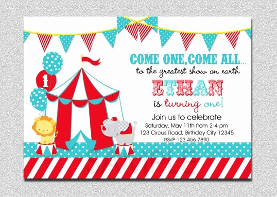 Carnival themed Birthday Invitations Elegant Carnival Circus Birthday Invitation Circus Carnival Birthday
