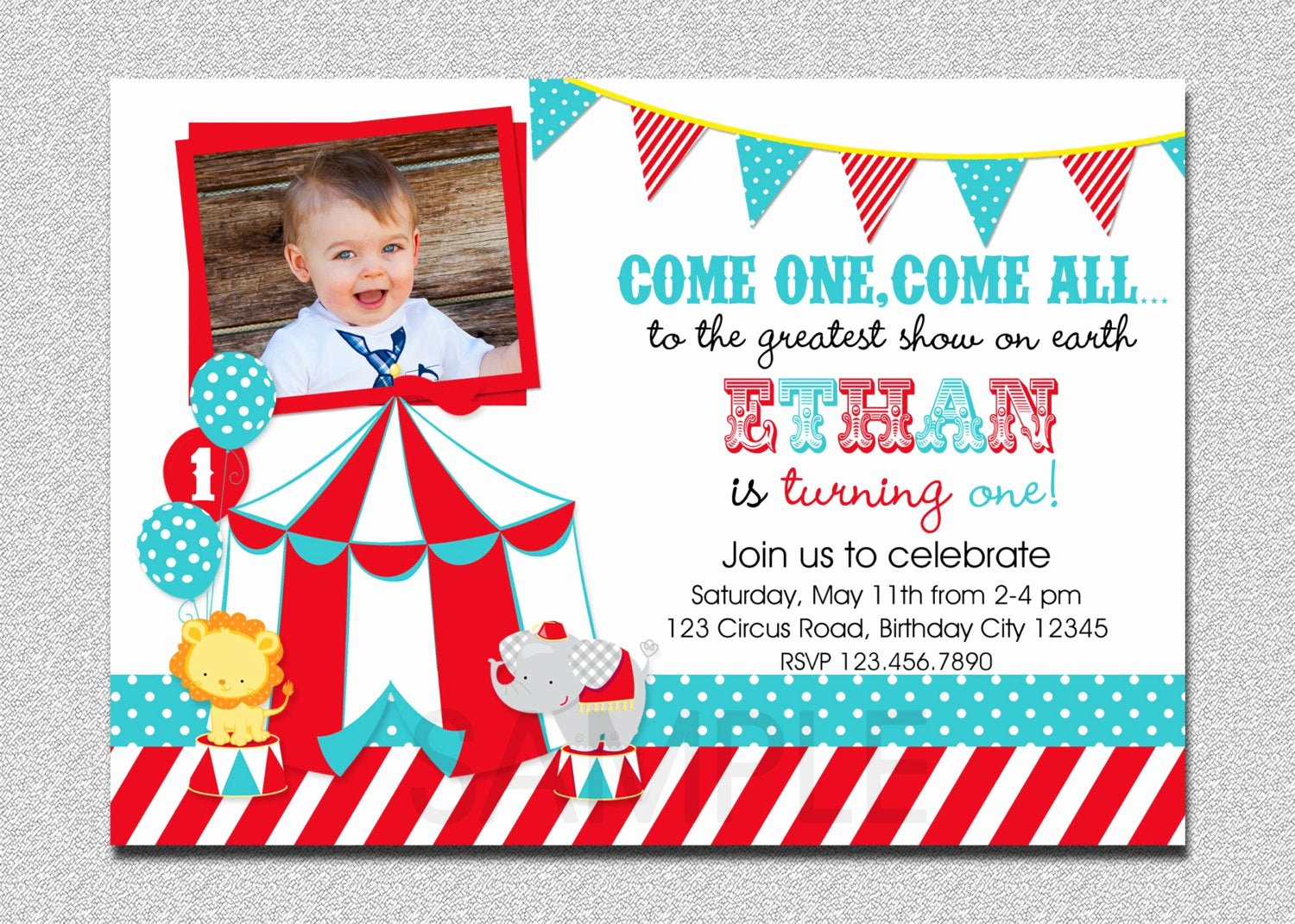 Carnival themed Birthday Invitations Elegant Circus Birthday Invitation 1st Birthday Circus Party