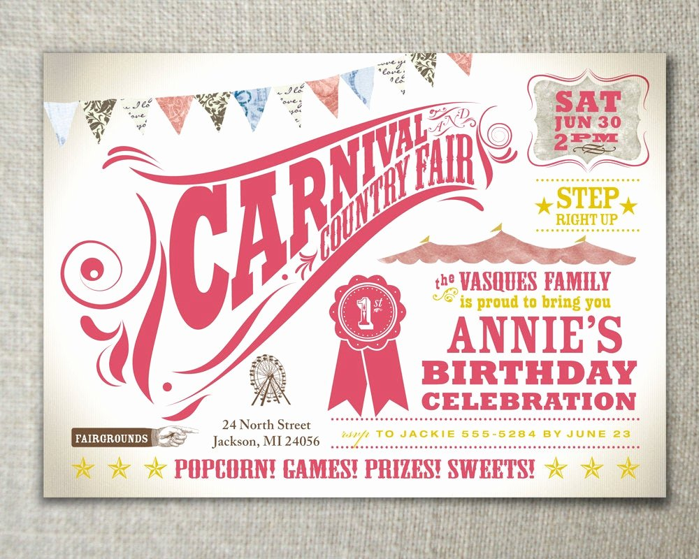 Carnival themed Birthday Invitations Fresh Carnival Party Kids Birthday Party Invitation by Peartreespace