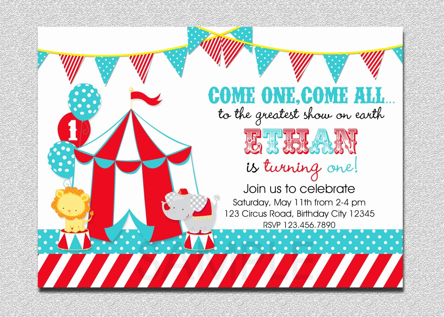 Carnival themed Birthday Invitations Inspirational Carnival Circus Birthday Invitation Circus by thetrendybutterfly