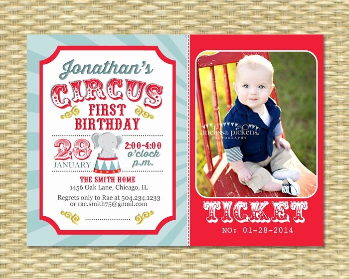 Carnival themed Birthday Invitations Inspirational Circus First Birthday Invitation Circus Birthday Invite