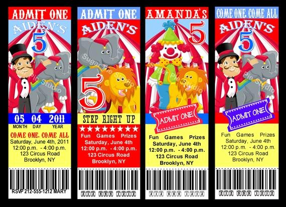 Carnival themed Birthday Invitations Lovely Circus Carnival theme Ticket Style Invitation Birthday Party