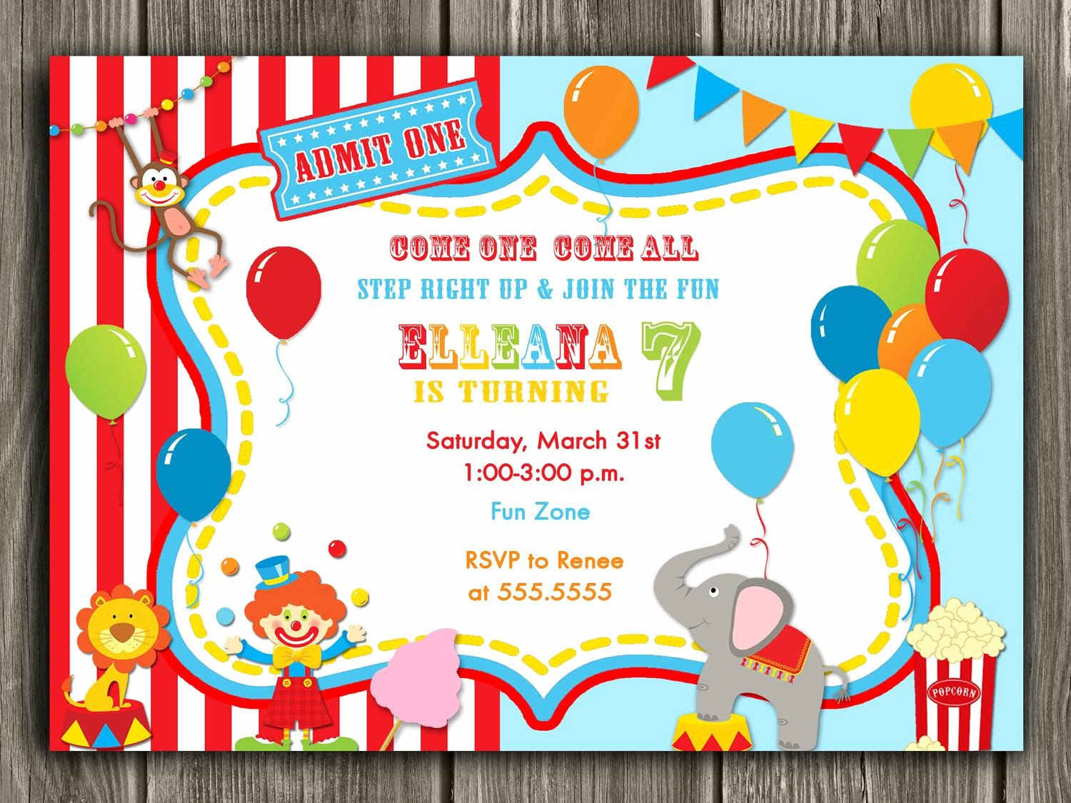 Carnival themed Birthday Invitations Lovely Circus Invitation Free Thank You Card Included $15 00 Via Etsy