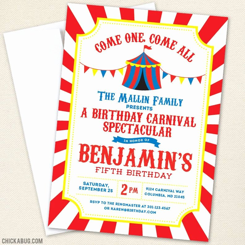 Carnival themed Birthday Invitations Luxury Carnival or Circus Party Invitations Kids Birthday Ideas