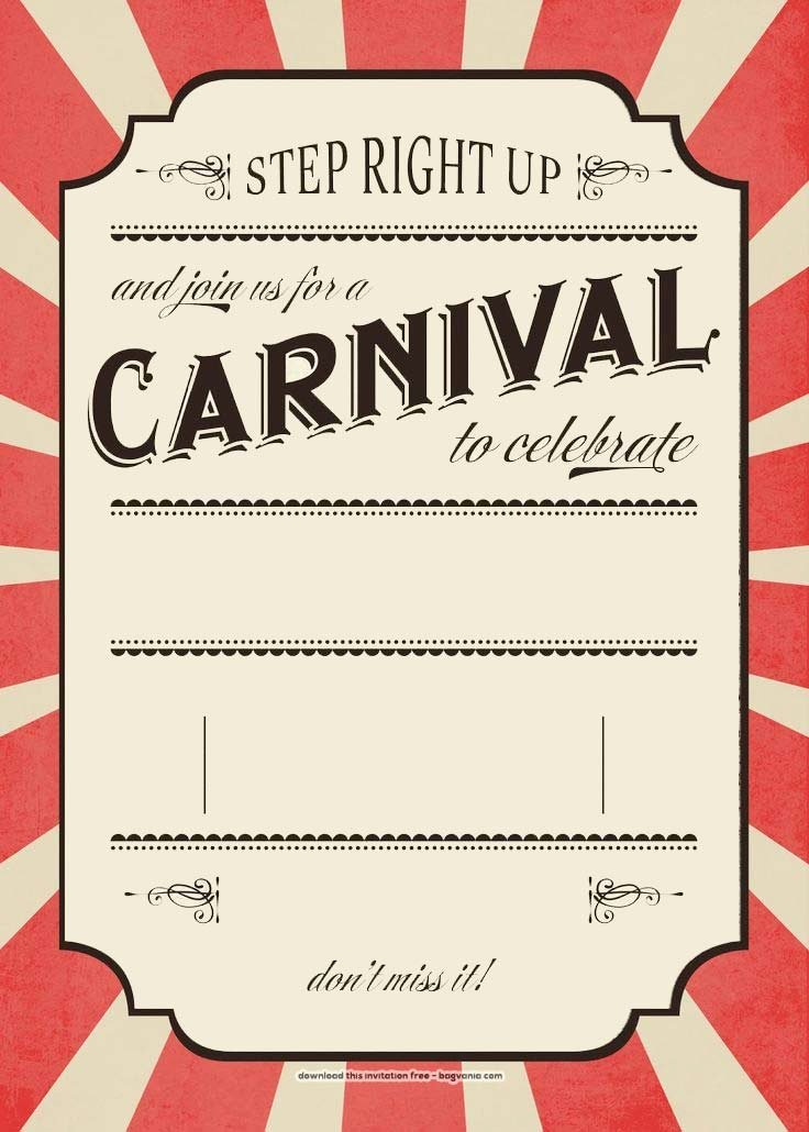 Carnival themed Birthday Invitations Luxury Free Carnival Birthday Invitations – Free Printable Birthday Invitation Templates – Bagvania